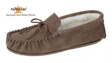 Men's Suede Moccasins Wool Lining & Hard Sole TAUPE